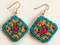 Detailed Tutorial. Whether you are a beginner or an experience crocheter these African inspired colorful earrings is a fun project to make. If you are a beginner you will learn how to make a basic granny square, you will practice how to carry the threads inside the stitches used in tapestry crochet technique, you will learn how to make simple jewelry and last but not least you will learn the colors combination from different…
