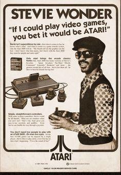 Stevie Wonder Atari Ad - If I could play video games, you bet it would be Atari ! Vintage Humor, Funny Vintage Ads, Pub Vintage, Photo Vintage, Funny Ads, Poster Vintage, Hilarious, Funny Images, Funny Pictures
