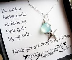 Bridesmaid thank you cards with starfish lariat necklace, beach wedding jewelry, aqua necklace, thank you gifts for bridesmaids. via Etsy. Bridesmaid Thank You Cards, Be My Bridesmaid, Aqua Bridesmaid Dresses, Bridesmaid Quotes, Beach Wedding Bridesmaids, Bridesmaid Ideas, Bridesmaid Proposal, Bride Dresses, Wedding Inspiration