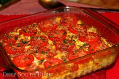 Fresh Corn Casserole - A garden fresh casserole featuring sweet summer corn and tomatoes, onion, sweet bell pepper and garden fresh herbs.