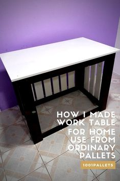 Great home desk for multiple purposes. It is made of two ordinary palettes, processed by hand, with a sander, and then painted with white lacquer and walnut lacquer. The work table has hooks on the inside that are suitable for leaving different types of tools. The table is 60 centimeters long, 100 centimeters wide, and … Read More » #PalletTable, #RecyclingWoodPallets, #WorkTable, #Worktable #PalletDesksPalletTables
