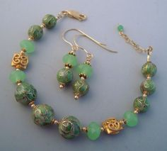 Green Cloisonne Gold Filled Beaded Earrings & Bracelet