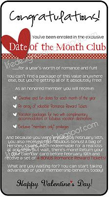 """Valentine's Day/Christmas/Anniversary Gift for husband or wife. """"Date of the Month Club"""" this is soo cute! Cute Valentines Day Gifts, Valentines Gifts For Boyfriend, Valentine Day Love, Boyfriend Gifts, Cute Gifts, Holiday Crafts, Holiday Fun, Heart Day, Love Days"""