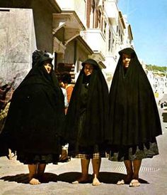Widows of Nazare Portugal wearing distinctive black capes Isadora Duncan, Spain And Portugal, Lisbon Portugal, Funeral Etiquette, Folk Costume, Costumes, Catholic Funeral, Mourning Dress, Black Cape
