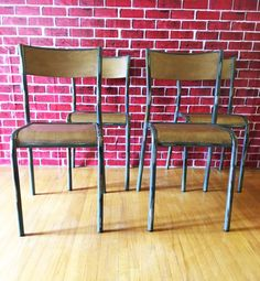 French Vintage Industrial Dining Chairs  — Industrial Dining Chairs, Vintage Industrial Furniture, Table Seating, Dining Table, French Industrial, Table Height, Wood And Metal, French Vintage, Storage