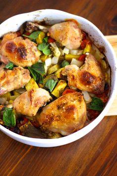 As Minhas Receitas: Tabuleiro de Frango no Forno com Batata Doce, Cebola e Tomate Cereja