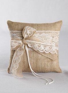 Country Romance Ring Pillow- Rustic burlap and lace ring bearer pillow with a jute and lace bow. Burlap wedding.