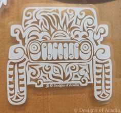 "Sticker - ""Jeep Tribal Tattoo"" - WHITE with CLEAR background Vinyl Sticker"