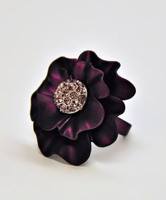 This Amabel Designs Dark Purple & Lavender Crystal Rose Adjustable Ring by Amabel Designs is perfect! #zulilyfinds