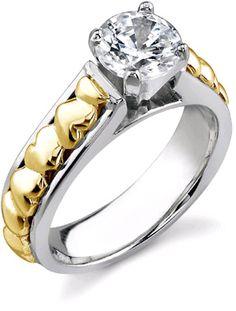 ApplesofGold.com - Diamond Heart 1/4 Carat Engagement Ring, 14K Two-Tone Gold Wedding Jewelry $1,125.00