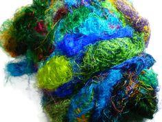 Sari Silk Fiber,1 oz,Mix(cold colours) by DivinityFibers on Etsy https://www.etsy.com/listing/130124516/sari-silk-fiber1-ozmixcold-colours