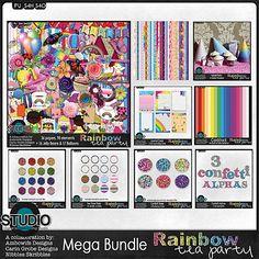 Rainbow Tea Party - The Mega Bundle - available at Digital Scrapbooking Studio - Available at Digital Scrapbooking, Tea Party, Balloons, Rainbow, Kit, Collections, Studio, Paper, Design