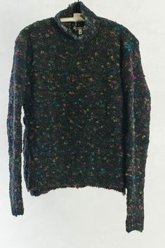 Black and Multi-color Chunky Turtleneck