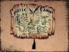 """Часы для дома ручной работы. Настенные часы """"Карта Средиземья"""". Rustikka. Ярмарка Мастеров. Часы карта, Властелин колец"""