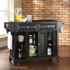 Crosley LaFayette Natural Wood Top Portable Kitchen Island In - Crosley kitchen island cart natural wood top