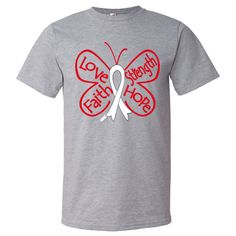 Lung Cancer Butterfly T-Shirts  #LungCancer #ButterflyRibbonShirts #LungCancerAwareness
