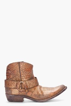 GOLDEN GOOSE Tan Embossed Cowboy Boots