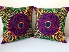 "African Print Pillow Covers - Home Decor - Decorative Pillow Covers - Couch Pillows - Throw Pillows - Bespoke - 14"" x 14"" on Etsy, £47.00"