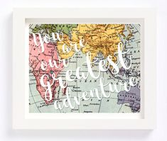You Are Our Greatest Adventure print makes for the perfect nursery decor item or your child or kids room or playroom. The quote lies over a vintage map of the world. Would make for a great baby shower or new mom gift.  ****This listing is for ONE INSTANT DOWNLOAD printable high resolution JPEG files in 8x10 size of the print featured in the first photo.**** If you would like a different size, please leave a note at checkout with this request. Ignore the automatic download. A second email…