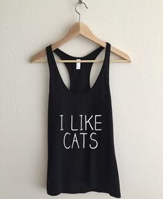 i Like Cats Typography Athletic Racerback Tank Top