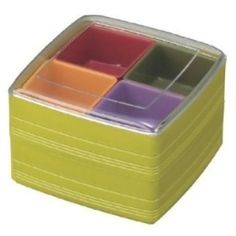 Square Double Tier  Bento Lunch Box Removable 4 Compartments Green