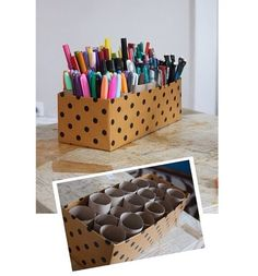 Nice way to orginize pens pencils markers etc.. Shoe box + paper rolls (;