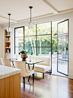 steel frame windows in kitchen