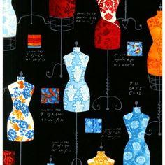 Robert Kaufman - Dressforms on Black Bright - cotton fabric