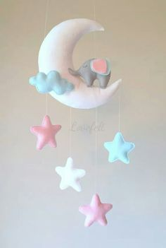 Mobile baby baby mobile elephant mobile moon by lovefeltmobiles . Baby Crafts, Felt Crafts, Diy And Crafts, Pink Mobile, Baby Mobile, Diy Bebe, Felt Diy, Felt Ornaments, Baby Room Decor