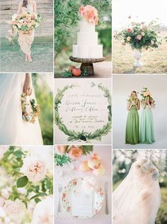 Peach and Green Wedding Inspiraiton