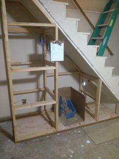 Storage under basement stairs Understairs Storage basement stairs storage Under Basement Stairs, Space Under Stairs, Under Stairs Cupboard, Staircase Storage, Basement Storage, Storage Under Stairs, Diy Understairs Storage, Basement Renovations, Home Remodeling