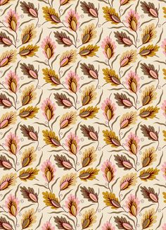 autumn, leaves, colour, pattern, print, design, mustard/pink