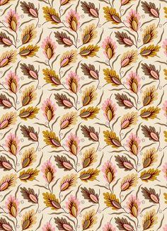 autumn, leaves, colour, pattern, print, design, mustard/pink