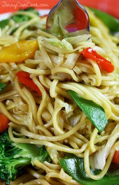 Vegetable Lo Mein recipe from Jenny Jones (JennyCanCook.com) - Quick and easy - cooks in five minutes!