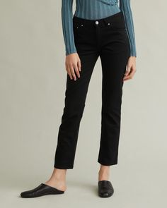 Crafted in Italy, with a straight slightly cropped ankle for a flattering silhouette. The Straight Denim is semi-stretch for a soft feel and has the Totême monogram leather patch at back and engraved logo button at front. Designing Women, Capri Pants, Black Jeans, Slim, Legs, Apothecary, Cotton, Monogram, Italy