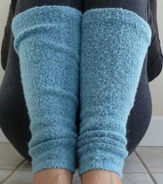 Cozy Blue Leg Warmers/Boot Toppers Light Blue by HollynSage