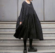 Oversize plaid black dress