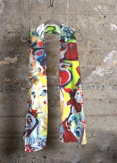 Cashmere Modal Scarf - Montage by VIDA Original Artist Vida Design, Night Looks, Floral Tie, Pink Flowers, Print Patterns, Cashmere, Elegant, Artwork, Beautiful