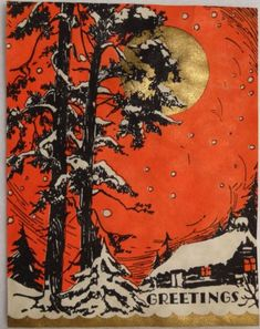 #110 20s Art Deco Cottage in the Moon Light-Vtg Unused Christmas Greeting Card