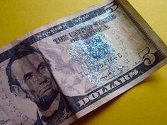 Tooth fairy glitter seal on dollars
