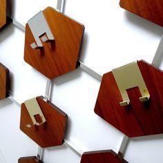 Vintage Danish Mid Century Hexagons Teak Wood Coat / Hat Hanger / Shelf | Chairish Danish Modern, Midcentury Modern, Hat Hanger, Take Apart, Hexagons, Teak Wood, Home Organization, Modern Furniture, Shelf