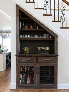 Under the stairs bar built ins decor 70 Ideas Bar Under Stairs, Space Under Stairs, Storage Under Stairs, Under Stairs Wine Cellar, Built In Bar, Built Ins, Basement Stairs, Basement Ceilings, Basement Ideas