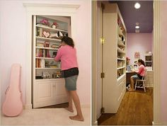 2 Bookcase Hidden Door - The room showed above is one couples\' unusually creative gift to their very excited teenage daughter. The bookcase...