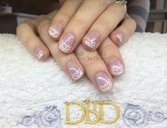 www.DivineByDesignBeauty.com. Hand-painted lace nail art using CND Shellac xDBDx