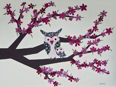 cherry blossom owls -  nursery art.