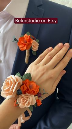 Fall Wedding Bouquets, Fall Wedding Decorations, Wedding Flowers, Prom Corsage And Boutonniere, Bridesmaid Bouquet, Budget Bridesmaid Dresses, Wedding Wristlets, Burnt Orange, Etsy
