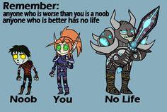 funny noobs   Gamer Status: Noob vs Gamer vs No Life