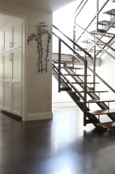Staircase Photos Open Staircase Design, Pictures, Remodel, Decor and Ideas - page 2 Metal Stair Railing, Staircase Railings, Staircase Design, Stairways, Stair Design, Foyers, Open Stairs, Glass Stairs, Floating Staircase