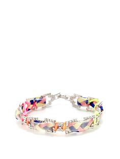 Orange, Pink, Yellow, & Blue Braided Ribbon Bracelet from New Spring Essentials: Pastel Jewelry on Gilt