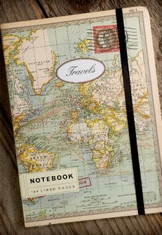 World Map Travel Journal Notebook Travelers Notebook, Smash Book, World Map Travel, Travel Album, Map Globe, Save On Crafts, Handmade Journals, Travel Themes, Travel Scrapbook